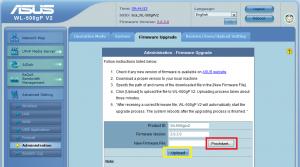Možnost nahární nového firmware do routeru Asus WL-500gP V2